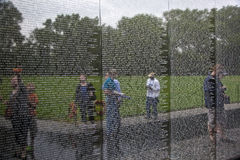 Engraved Names of Dead Soldiers on the Wall of the Vietnam Memorial in Washington D.C. Royalty Free Stock Photo