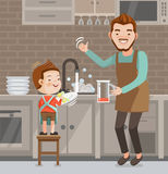 Wash dishes. Little cute boy washing dishes. Father and son together with  helping.Put on the apron.Family lifestyle concept Characters cartoon isolated On the Stock Image