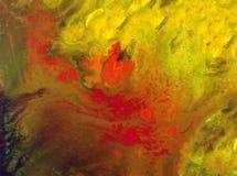 Wash för varm säsongsbetonad guling för höst för abstrakt begrepp för vattenfärgkonstbakgrund suddig röd färgrik texturerad våt Arkivbild