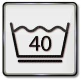 Wash för wash för tvätterisymbol som försiktig 40 grader är celsius Fotografering för Bildbyråer