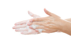 Wash female hands stock photo