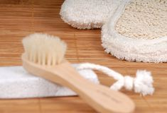 Wash_glove2. Wash glove brush spa accessories Royalty Free Stock Photo