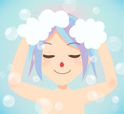 Wash hair bath time. Royalty Free Stock Image