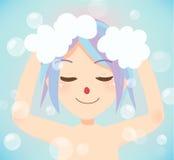 Wash hair bath time. Royalty Free Stock Image