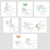 Wash hands and apply disinfectant vector instruction Royalty Free Stock Photography