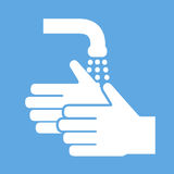 Wash hands icon, vector sign, flat style label.  royalty free illustration