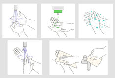 Wash hands  instruction Stock Images