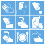 Wash hands instruction, set of vector icons Royalty Free Stock Photos