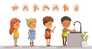 Wash hands kids vector illustration