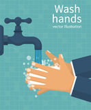 Wash hands. Man holding soap. In hand under water tap. Arm in foam soap bubbles. Vector illustration flat design on background. Personal hygiene. Disinfection vector illustration
