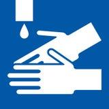 Wash hands sign. On blue background royalty free illustration