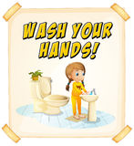 Wash hands. Wash you hands poster with child stock illustration