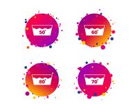 Wash icons. Machine washable at sixty degrees. Vector. Wash icons. Machine washable at 50, 60, 70 and 80 degrees symbols. Laundry washhouse signs. Gradient vector illustration