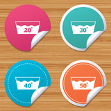 Wash icons. Machine washable at forty degrees. Round stickers or website banners. Wash icons. Machine washable at 20, 30, 40 and 50 degrees symbols. Laundry Stock Photography