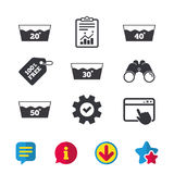 Wash icons. Machine washable at forty degrees. Wash icons. Machine washable at 20, 30, 40 and 50 degrees symbols. Laundry washhouse signs. Browser window Stock Images