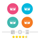 Wash icons. Machine washable at forty degrees. Royalty Free Stock Photos