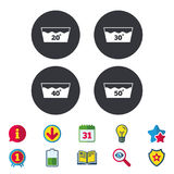 Wash icons. Machine washable at forty degrees. Wash icons. Machine washable at 20, 30, 40 and 50 degrees symbols. Laundry washhouse signs. Calendar, Information Stock Photos