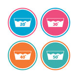 Wash icons. Machine washable at forty degrees. Wash icons. Machine washable at 20, 30, 40 and 50 degrees symbols. Laundry washhouse signs. Colored circle Stock Photos