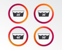 Wash icons. Machine washable at forty degrees. Wash icons. Machine washable at 20, 30, 40 and 50 degrees symbols. Laundry washhouse signs. Infographic design Stock Images