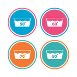 Wash icons. Machine washable at sixty degrees. Wash icons. Machine washable at 50, 60, 70 and 80 degrees symbols. Laundry washhouse signs. Colored circle vector illustration