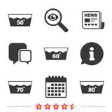 Wash icons. Machine washable at sixty degrees. Wash icons. Machine washable at 50, 60, 70 and 80 degrees symbols. Laundry washhouse signs. Newspaper Vector Illustration