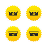 Wash icons. Machine washable at sixty degrees. Royalty Free Stock Photo