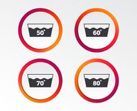 Wash icons. Machine washable at sixty degrees. Wash icons. Machine washable at 50, 60, 70 and 80 degrees symbols. Laundry washhouse signs. Infographic design Vector Illustration