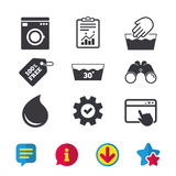 Wash icons. Machine washable at thirty degrees. Hand wash icon. Machine washable at 30 degrees symbols. Laundry washhouse and water drop signs. Browser window Royalty Free Stock Photos