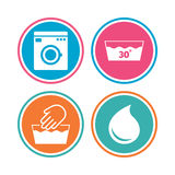 Wash icons. Machine washable at thirty degrees. Stock Photo