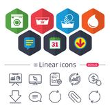 Wash icons. Machine washable at thirty degrees. Hand wash icon. Machine washable at 30 degrees symbols. Laundry washhouse and water drop signs. Chat, Report Stock Images