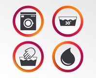 Wash icons. Machine washable at thirty degrees. Hand wash icon. Machine washable at 30 degrees symbols. Laundry washhouse and water drop signs. Infographic Stock Photo