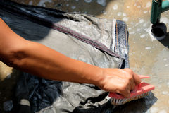 Wash the jeans pant Stock Photography