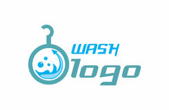 Wash logo. A detailed logo that shows water flowing around in the washing machine with a coat hanger element added. Logo has blue nuances and a modern font Royalty Free Stock Photo