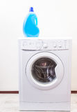 Wash mashine with detergent Royalty Free Stock Image