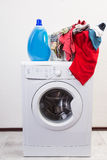 Wash mashine with detergent Royalty Free Stock Photo
