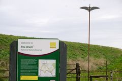 Wash nature reserve. Access to the Wash national nature reserve at Terrington St Clement marsh Stock Image