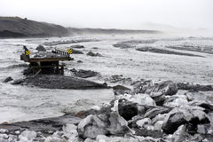 Wash off the bridge after the landslide in the area of the volcano Katla, Iceland Stock Photos