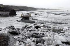 Wash off the bridge after the landslide, Iceland Stock Photo
