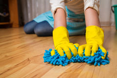 Wash parquet floor concept Stock Photography