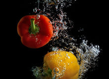 Wash peppers Stock Photos