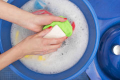 Wash with soap and water. Wash with soap and water in tazike Stock Image