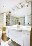 Wash stand with mirror in modern bathroom Stock Photo