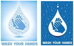 Wash your hands-blue background with  water drops. Wash your hands-blue background with many water drops Royalty Free Stock Photo