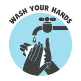 Wash your hands or safe hand washing vector symbol Stock Photos