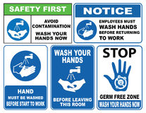 Wash your hands sign. (Avoid contamination, employee must wash hands returning to work, before leaving this room, now wash your hands stock illustration