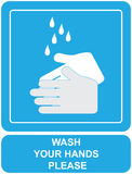 Wash your hands sign. Wash your hands please sign vector illustration Royalty Free Stock Photos