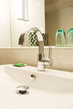Washbasin. Fresh and clean washbasin and chrome tap Stock Images