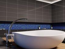 Washbasin 3d. White washbasin in black blue bathroom 3d render Royalty Free Stock Images