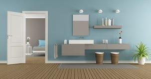 Современная ванная комната с washbasin иллюстрация вектора
