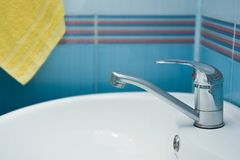 Washbasin in bathroom Royalty Free Stock Image